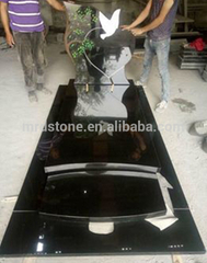 Poland style shanxi black Polished black granite monument