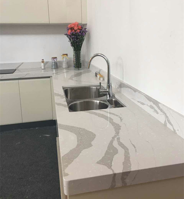 Wholesale Cad-Drawing Team Decoration Artificial White Chinese Quartz Stone With Grey Veins