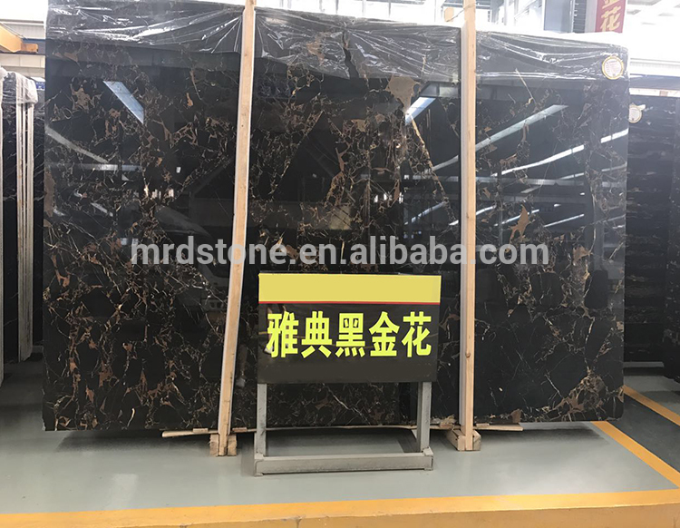 Good Quality Building Material Golden Flower Portoro Athens Black Marble