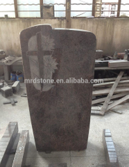 Red Granite Germany Style Carved Rose Flower Headstone With Cross
