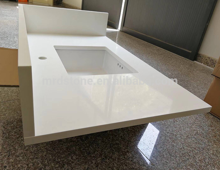 High Quality Polished Artificial Stone Pure White Quartz Worktops