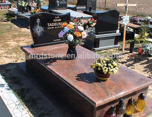 High Quality Multicolor Red Granite Poland Tombstone Designs