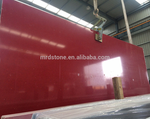 High quality polished red crystal quartz slabs for countertop