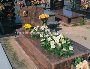 Multicolor Red Granite Poland Monument Headstone With Small Angel