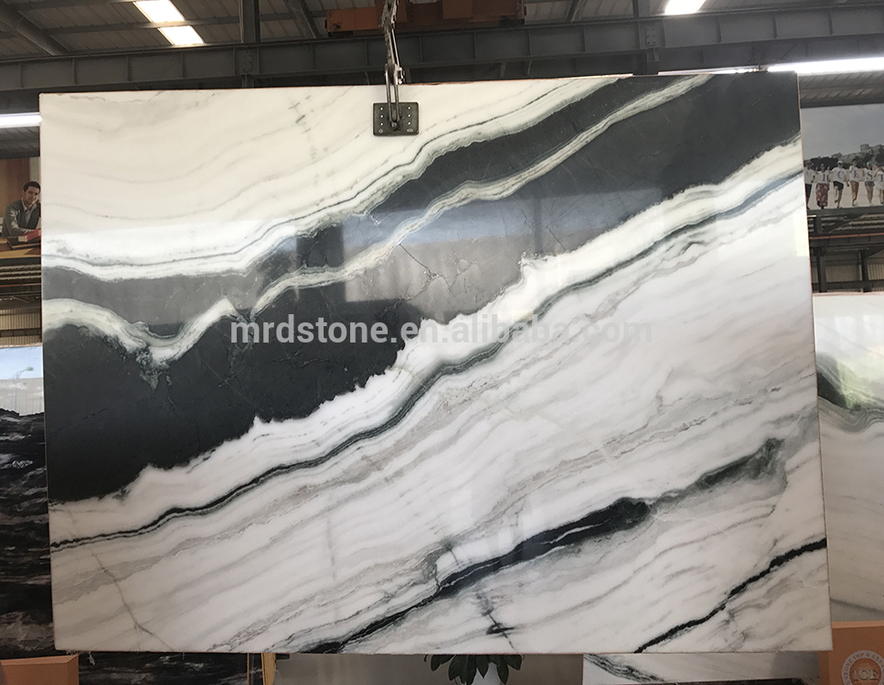 Best Selling Chinese Big Slab Panda Marble White With Black Veins