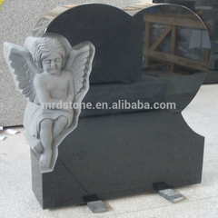 China Black Granite Monuments American Style Angel Heart Child Headstone