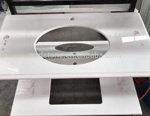 Chinese Supplier Pure White Quartz Countertop With Pattern