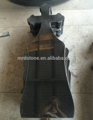 Factory Supply Shanxi Black Granite Cross Style Headstone