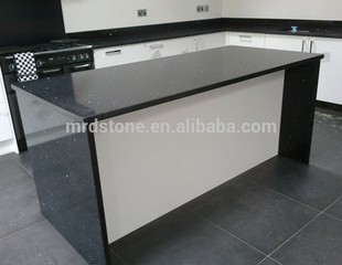 High Quality Prefab Sparkle Black Galaxy Quartz Countertop