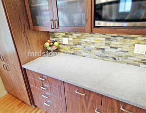 Good Price Chinese Alaska White Quartz Countertop With Grey Veins For Bathroom Vanity Top