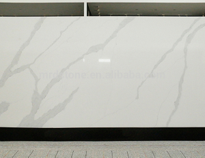 Hight Polished Artifical White Calacatta Quartz For Countertop