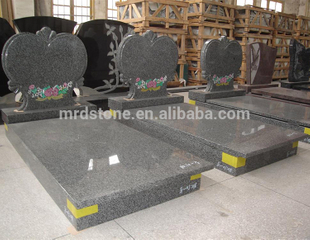 Factory Direct Hungary Style Grey Granite Heart Headstones With Grave Flower