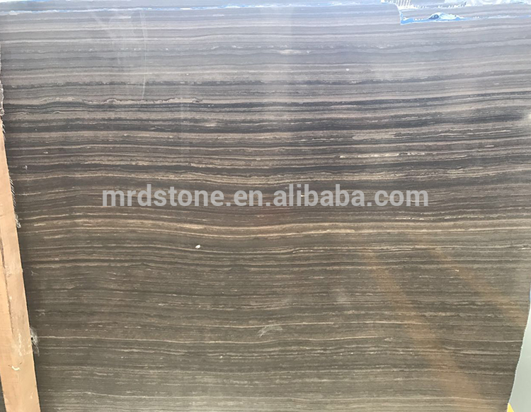Wholesale Polished Natural Stone Brown Wood Grain Standard Marble Slab Size