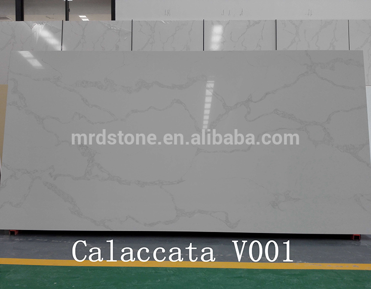 Hot Sale Artificial Stone White Calacatta Quartz Slab For Countertop