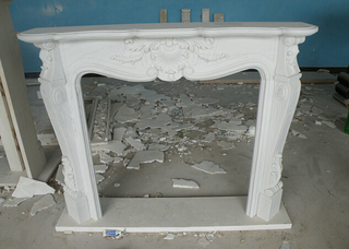 Bianco Carrara White Marble Fireplace Mantel for Interior Decoration