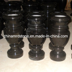 Polished Absolute Black Granite Stone Flower Vase for Cemetery
