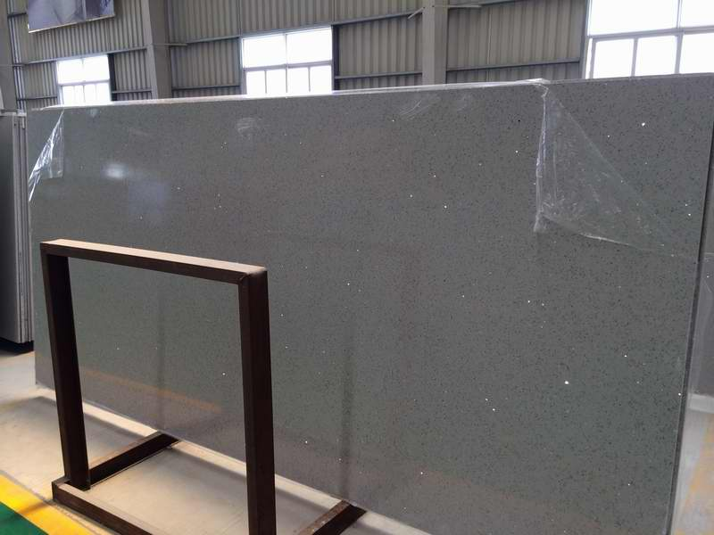Popular Quartz Stone Big Slabs with Grey Color